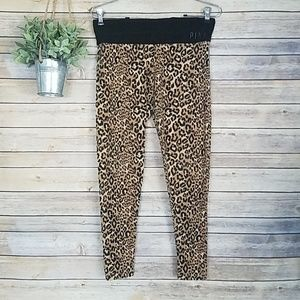PINK BY VS Leopard/Animal Print Bling Leggings